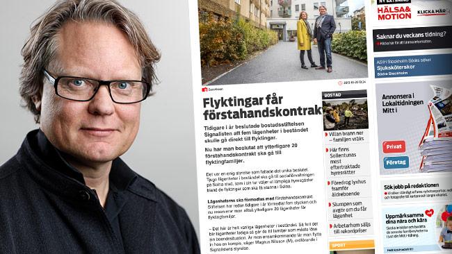 Magnus Nilsson förklarar att han förstår reaktionerna på artikeln, men att problemet med bostadsbrist beror på regleringar – inte flyktingar. Foto: Pressbild solna.se samt Faksimil mitti.se