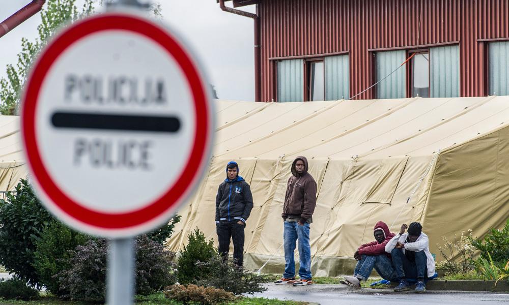 Afghanska och afrikanska migranter vid gränsen till Ungern. Miljoner migranter från tredje världen har under året sökt sig till norra Europas välfärdsländer i förhoppning om ett bättre liv. Foto: Károly Árvai