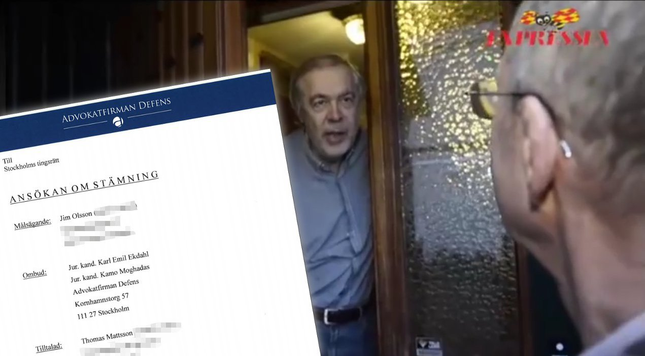 """Jim Olsson ber Expressenjournalisten Jimmy Fredriksson """"dra åt helvete"""" under ett oannonserat hembesök. Infällt i bild; del av stämningsansökan. Foto: Expressen/Youtube"""