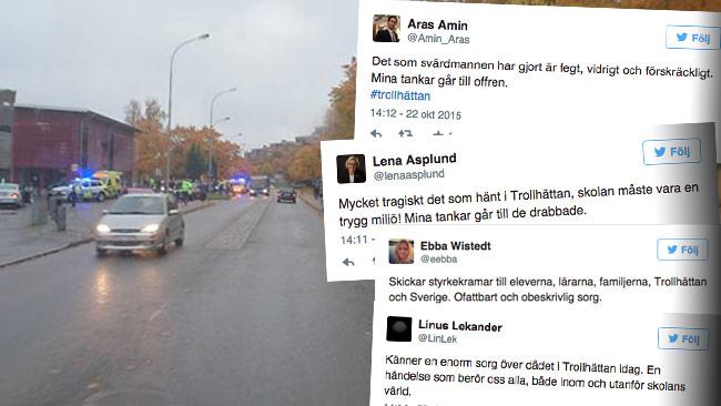 Hela Sverige uttrycker bestörtning över det som hänt i Trollhättan. Bilden är ett montage.