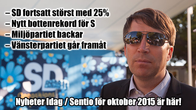 Sverigedemokraternas partisekreterare Richard Jomshof kommenterar Sentiomätningen. Foto: Chang Frick / Nyheter Idag