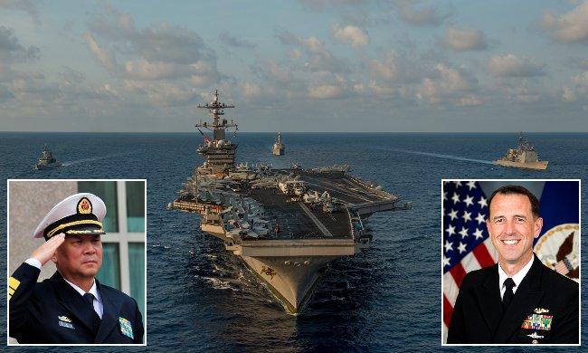Det amerikanska hangarfartyget USS Carl Vinson i Sydkinesiska havet tidigare i år. Wu Shengli och John Richardson infällda i bild. Foto: USA:s militär/Wikipedia