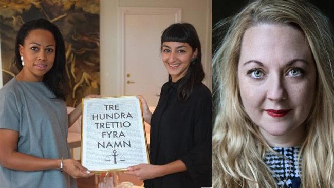 Rebecca Uvell (t.h) har granskat Rättviseförmedlingens lista (t.v). Foto: Pressbild / Rattviseformedlingen.se