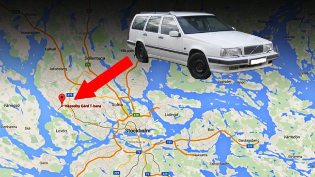 Det var i Hässelby i västra Stockholm som en kvinna yxrånade två män på deras Volvo. Bilden är ett montage. Foto: Google Maps