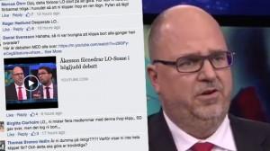 LO möter hårda reaktioner i sociala medier efter sin fulklippning av debatten. Foto: Faksimil Facebook / svtplay.se