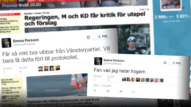 Aftonbladets neutrala och oberoende asylexpert är aktiv på Twitter. Foto: Faksimil aftonbladet.se samt Twitter