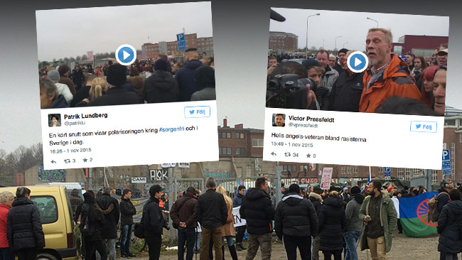 Det publiceras nu en rad videoklipp på Twitter från platsen. Bilden är ett montage. Foto: Privat / Faksimil Twitter