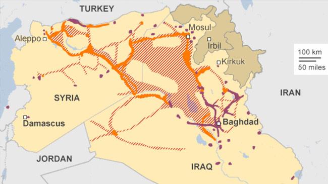Orange visar en grov bild av vägar och områden kontrollerade av islamiska staten. Illustration: BBC