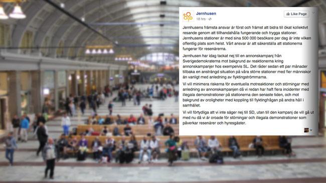 Statliga fastighetsbolaget Jernhusen sade nej till Sverigedemokraternas annonskampanj. Foto: Wikimedia Commons / Faksimil Facebook