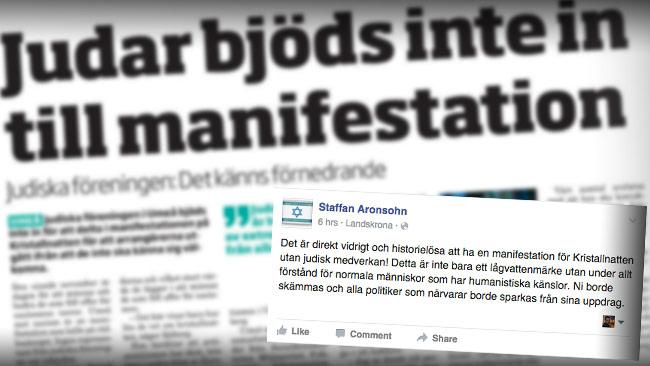 Nyheten om att judar inte bjöds in till manifestationen väcker känslor. Foto: Faksimil Totalt Umeå / Facebook