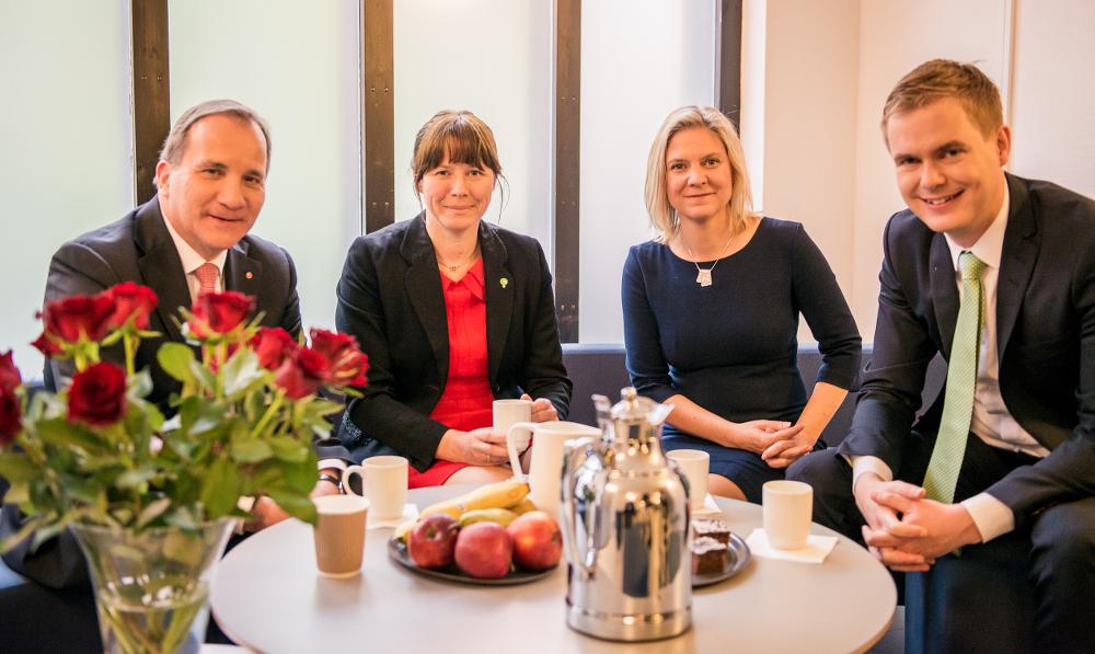 Kan få mer makt. Statsminister Stefan Löfven (S), vice statsminister Åsa romson (MP), finansminister Magdalena Andersson (S) och utbildningsminister Gustav Fridolin (MP).