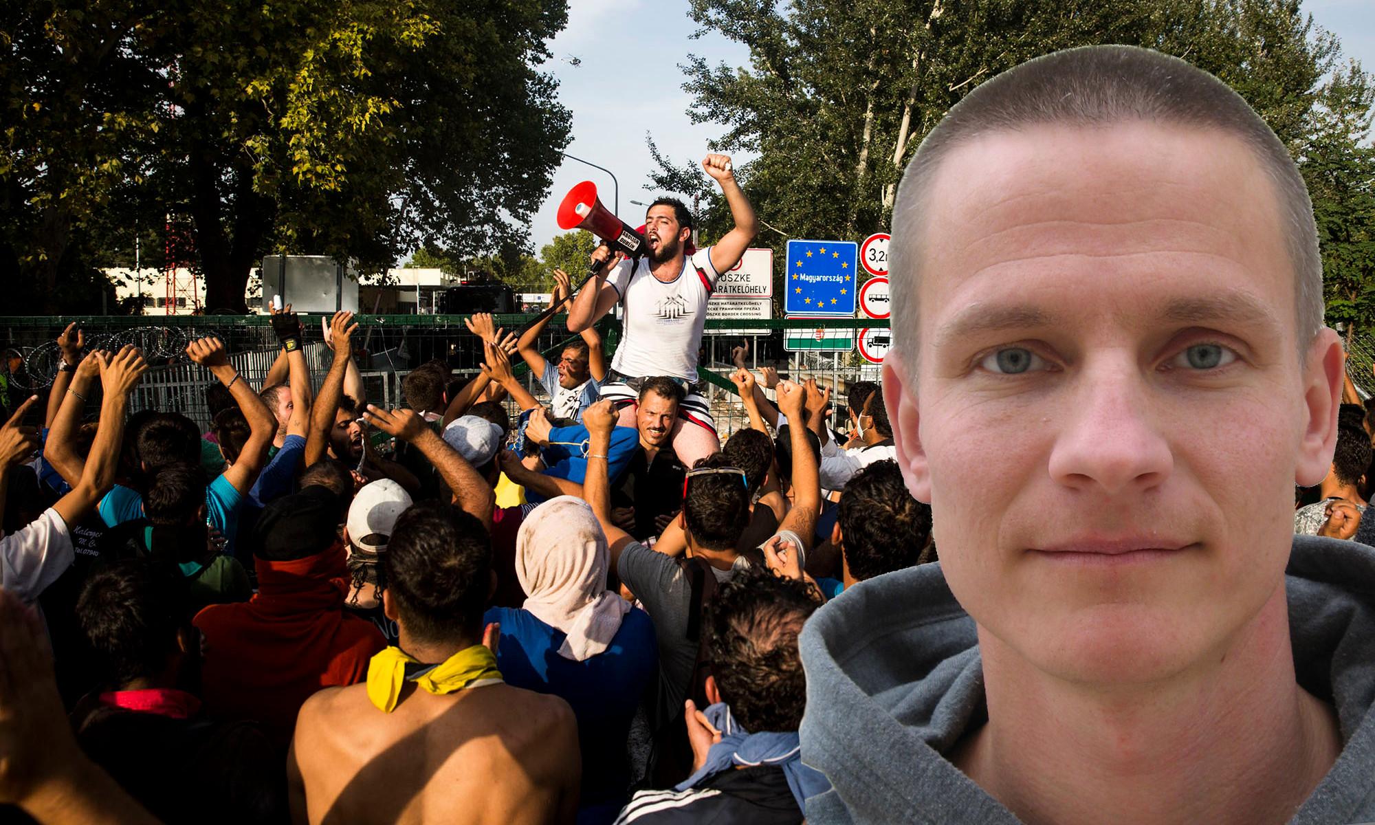 """Arga migranter som skanderar """"Allahu akbar"""" vid gränsen till EU. Joakim Ruist infälld i bild. Foto: Ungerska regeringen/Pressbild"""