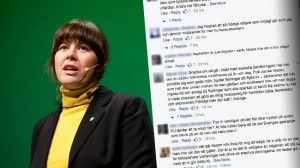 Milijöpartiet möter mycket hård kritik på Facebook. Foto: Pressbild / Fredrik Hjerling samt Faksimil Facebook
