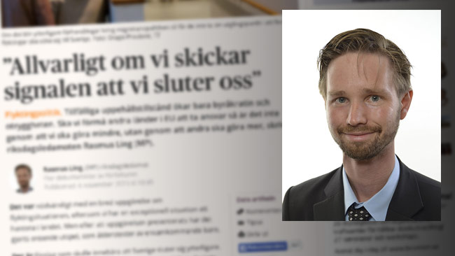 Enligt Miljöpartiet och Rasmus Ling är inte lösningen att stänga gränserna. Foto: Faksimil Dagens Samhälle / Pressbild riksdagen.se