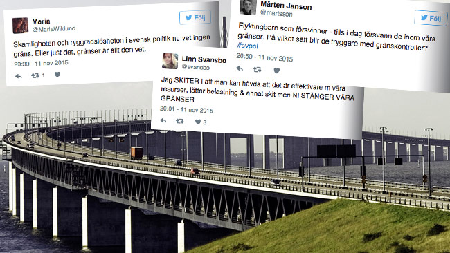 Det uttrycks hård kritik på Twitter mot beslutet om gränskontroller. Foto: Henry von Platen / Wikimedia Commons samt Faksimil Twitter