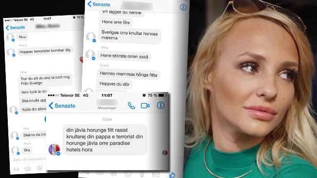 """Här är några av de hot som Paulina """"Paow"""" Danielsson fått ta emot. Foto: Privat"""