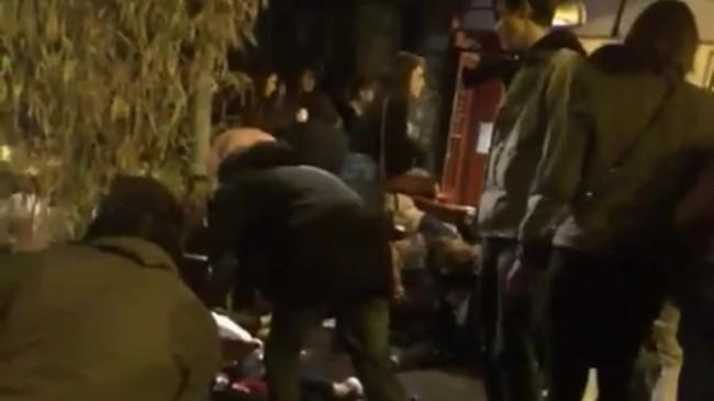 Döda, skadade och chockade människor på restaurang i Paris. Foto: Twitter