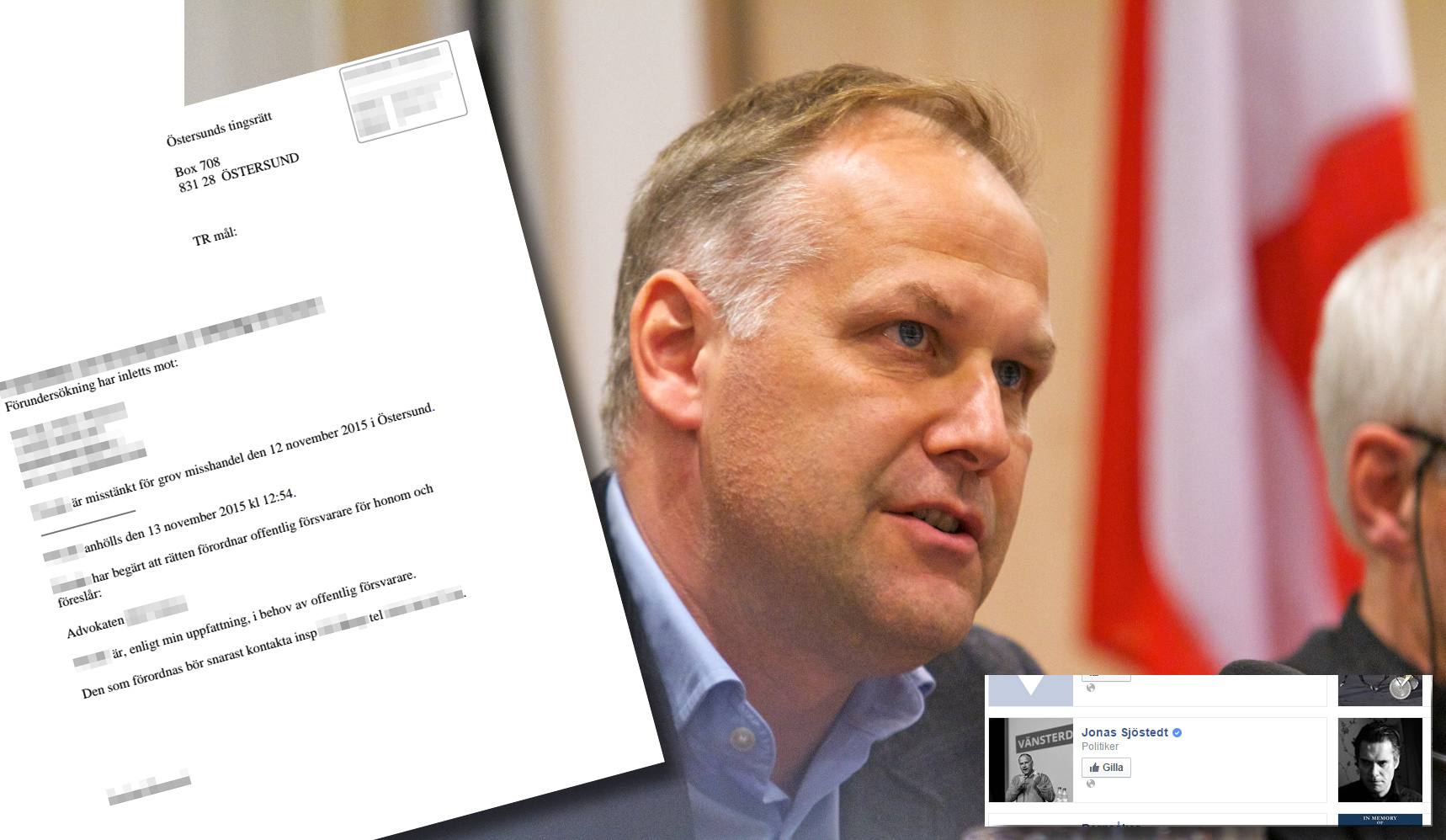 """Jonas SJöstedt är populär hos man anklagad för misshandel med """"rasistiska motiv"""". Foto: GUE/NGL. Montage: Nyheter Idag"""