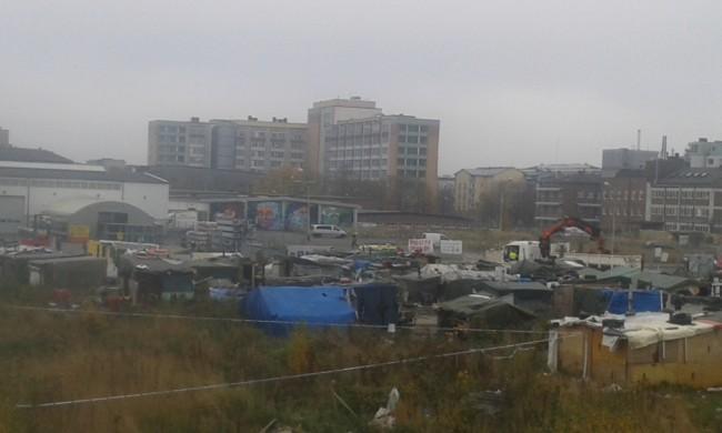 Avvecklingen av tiggarlägret idag. Foto: Andreas Jelenko