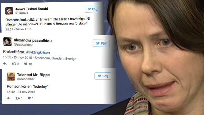Romson hade gråten i halsen när hon tvingades försvara en linje om att i praktiken stänga gränserna. Foto: Faksimil Twitter / svtplay.se
