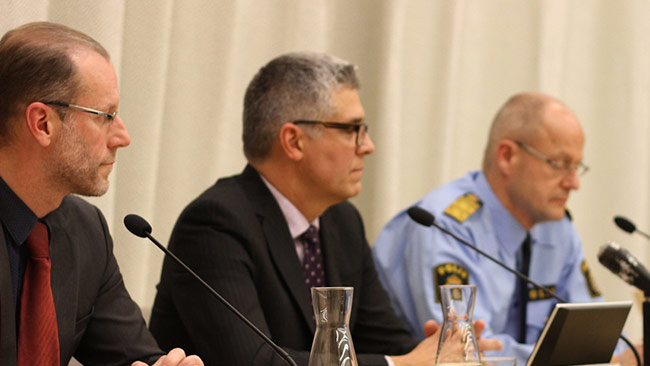 Säpo höll en presskonferens under onsdagen med anledning av terrorhotet. Foto: Stefan Reinerdahl