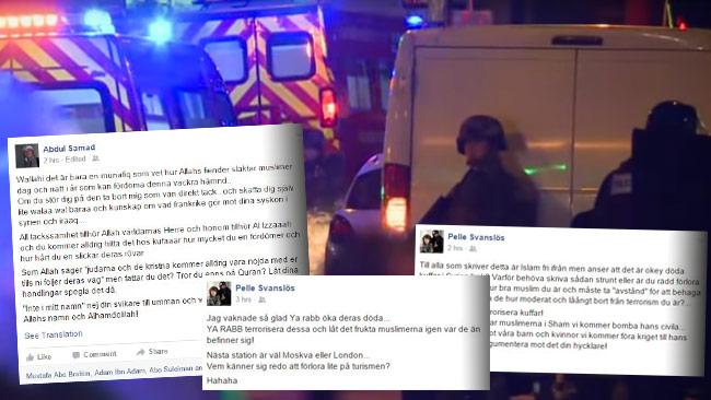 Svenska jihadister uppges ser ut att hylla terrordådet i Paris. Foto: Faksimil Facebook / Youtube