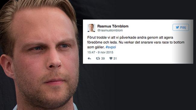 Rasmus Törnblom är djupt kritisk till Moderaternas nya utspel om att stänga gränserna. Foto: Per Pettersson / Wikimedia Commons samt Faksimil Twitter