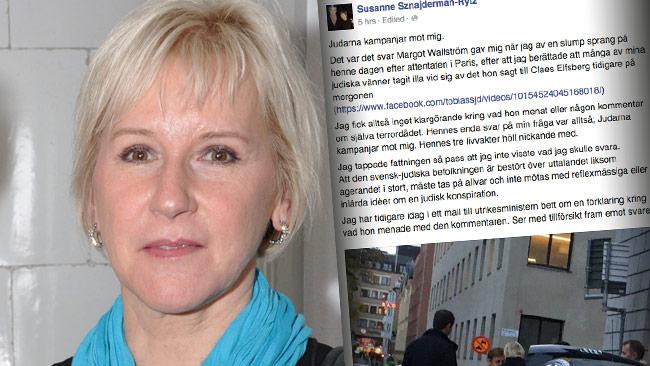 """Wallström anklagas öppet på Facebook för att ha sagt: """"Judarna kampanjar mot mig"""". Foto: Wikimedia Commons / Faksimil Facebook"""