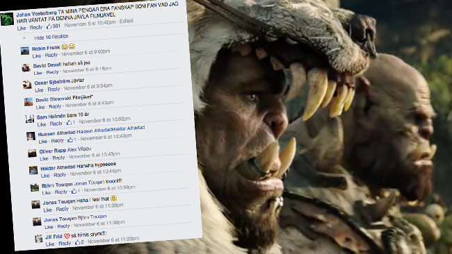 Minst sagt positiva reaktioner på trailern. Foto: Faksimil Facebook