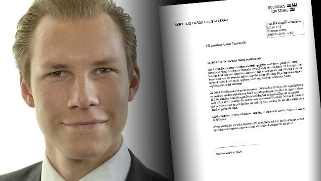 Avslöjandet från Nyheter Idag har nu blivit en het fråga för inrikesminister Anders Ygeman i Sveriges Riksdag. På bilden ser vi Marcus Wiechel (SD). Foto: riksdagen.se