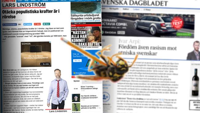 Lindström replikerar på Arpis ledare. Foto: Faksimil svd.se samt expressen.se