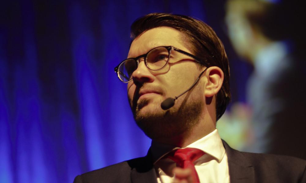 Jimmie Åkesson på Stockholmsmässan. Foto: Nyheter Idag