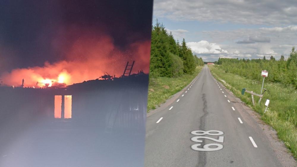 Arkivbild på asylboende i Munkedal som brinner/ Busshållplatsen i Långharpan. Foto: Räddningstjänsten/Google Maps