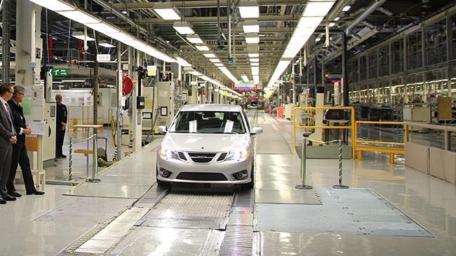 Här i bilfabriken i Trollhättan ska det byggas karosser till elbilar. Foto: Pressbild Nevs