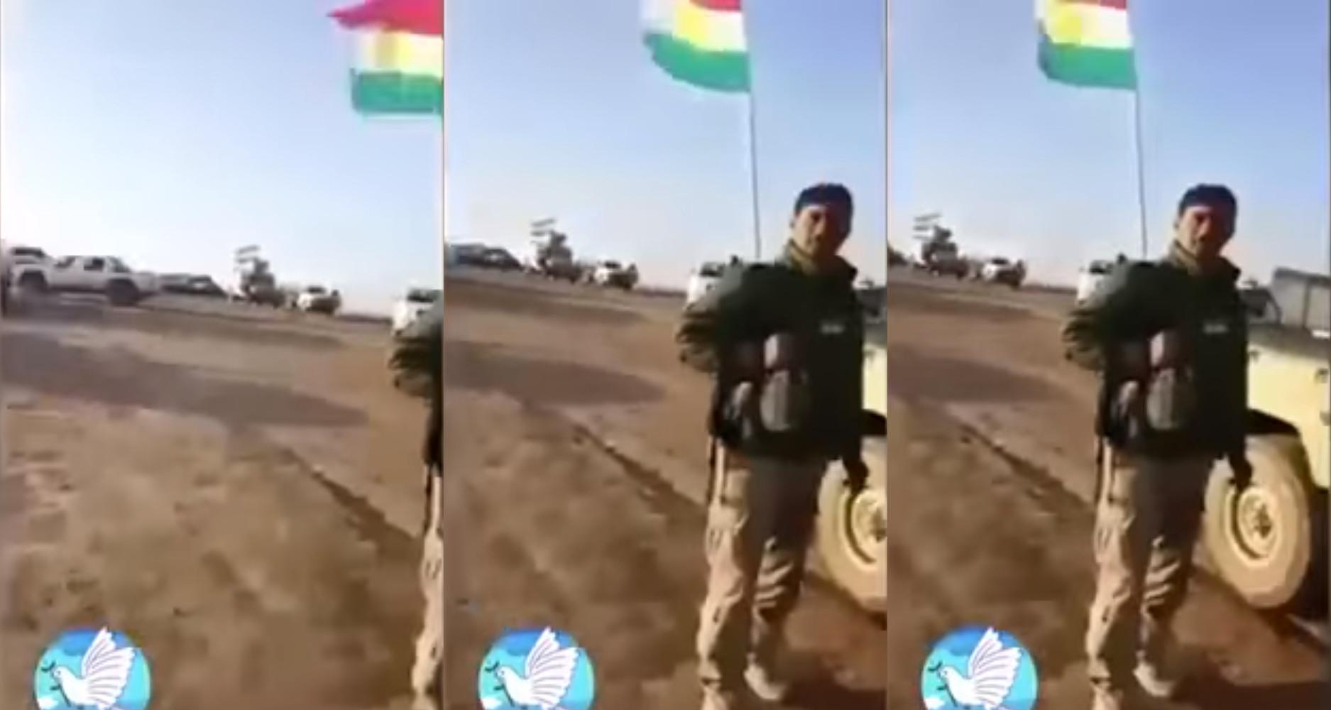 Kurdistans flagga är röd, vit och grön och har en gul sol. Foto: Skärmdump