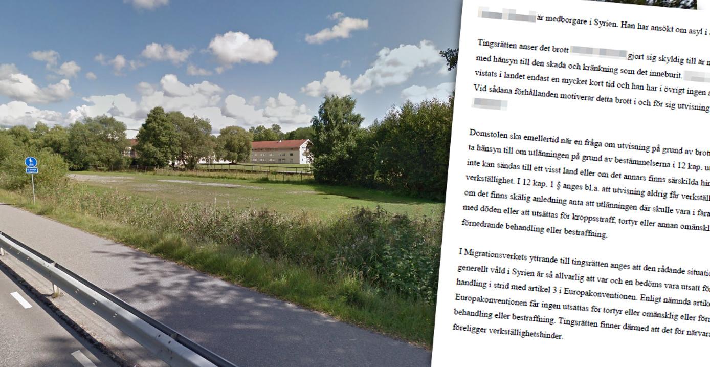 På denna gräsplätt nära hotellet Mälarblick (bakgrunden) våldtogs kvinnan. Foto: Google Maps/Faksimil tingsrättens dom