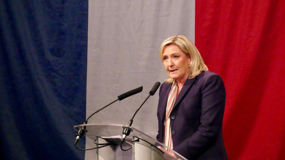 Natonella Frontens partiledare Marine Le Pen. Foto: Nationella Fronten