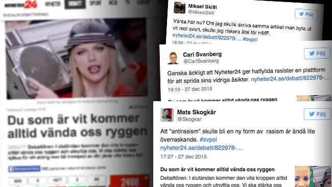 Nu anklagas konkurrenten Nyheter24 för att publicera en rasistisk debattartikel. Foto: Faksimil nyheter24.se samt Twitter
