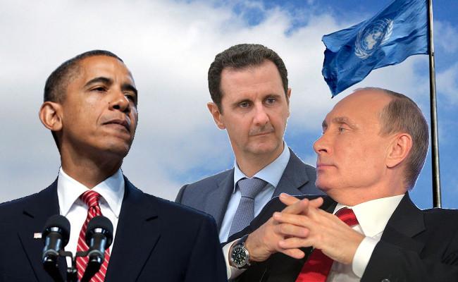 USA:s president Barack Obama, Syriens president Bashar al-Assad och Rysslands president Vladimir Putin. Montage: Nyheter Idag