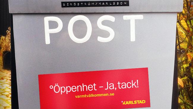 Nu kan du skylta på brevlådan eller din dörr med din godhet. Men bara om du bor i Karlstad. Foto: varmtvalkommen.se