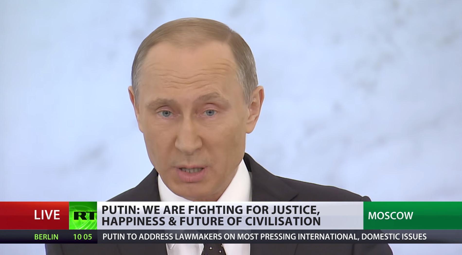 Rysslands president Vladimir Putin. Foto: Youtube/RT