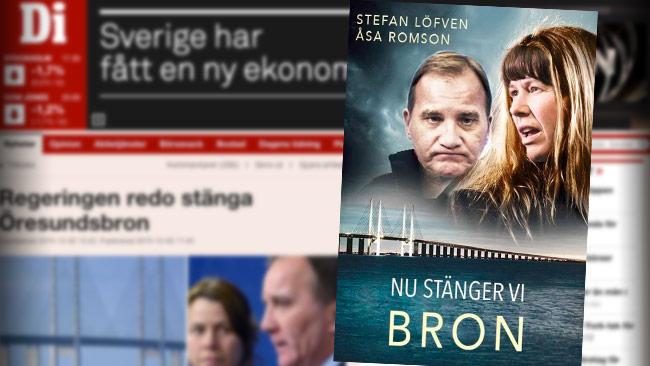 Regeringen hånas i sociala medier för att de är beredda att stänga Öresundsbron. Foto: Fakismil di.se samt bild från Twitter