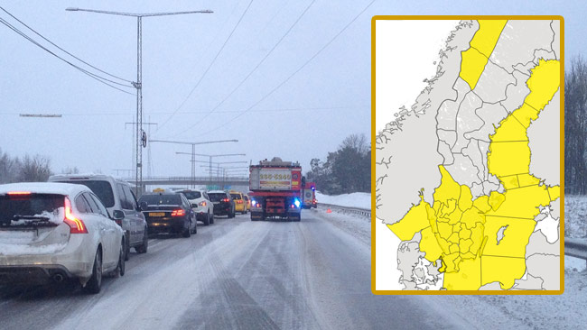 Snökaos väntas i södra Sverige. Foto: Stefan Reinerdahl samt faksimil smhi.se