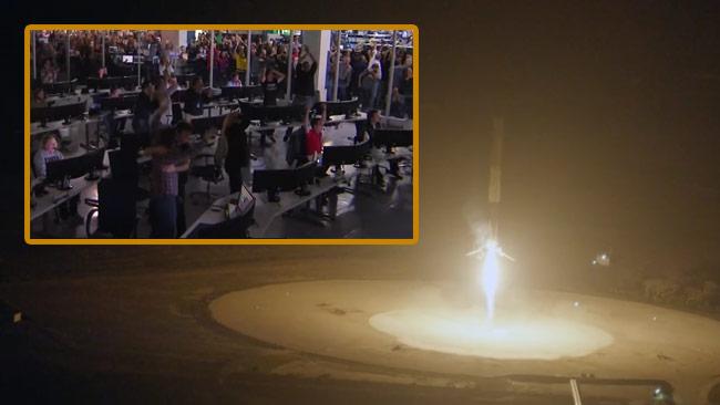 Jubel utbröt när raketen för första gången lyckades landa. Foto: Faksimil Youtube