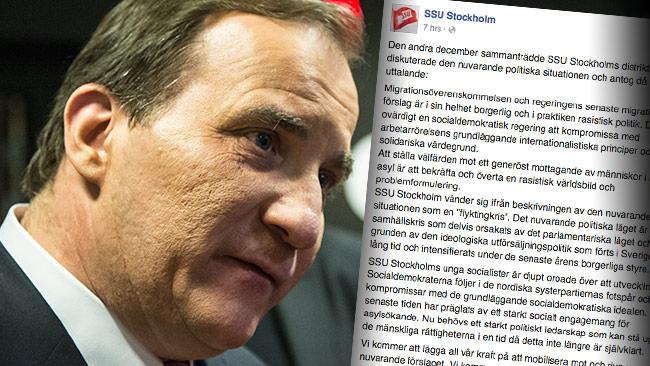Stefan Löfvens regering får mycket skarp kritik från SSU Stockholm. Bilden är ett montage. Foto: Nyheter Idag samt Faksimil Facebook