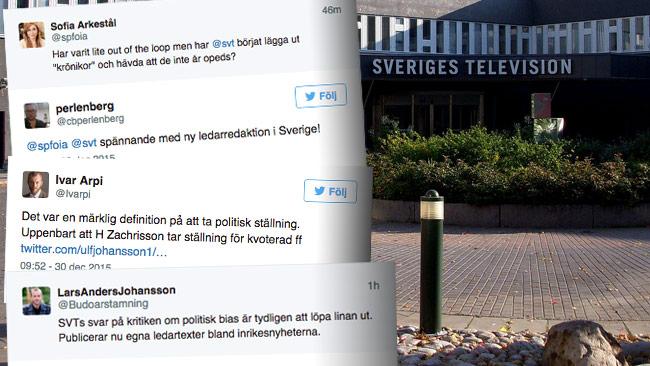 Nu möter SVT en häftig kritikstorm efter krönikan på nyhetsplats. Foto: Holger Ellgaard / Wikimedia Commons samt Faksimil Twitter