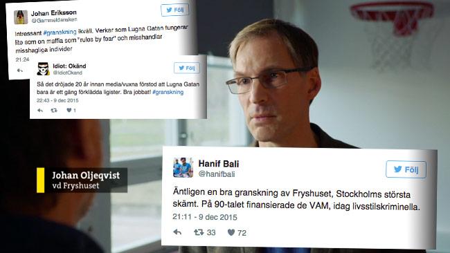 Några av reaktionerna på Twitter. I bakgrunden Johan Oljeqvist i Uppdrag Granskning. Foto: Faksimil svtplay.se