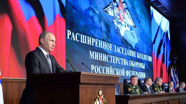 Rysslands president Vladimir Putin vid presskonferensen idag. Foto: Kreml