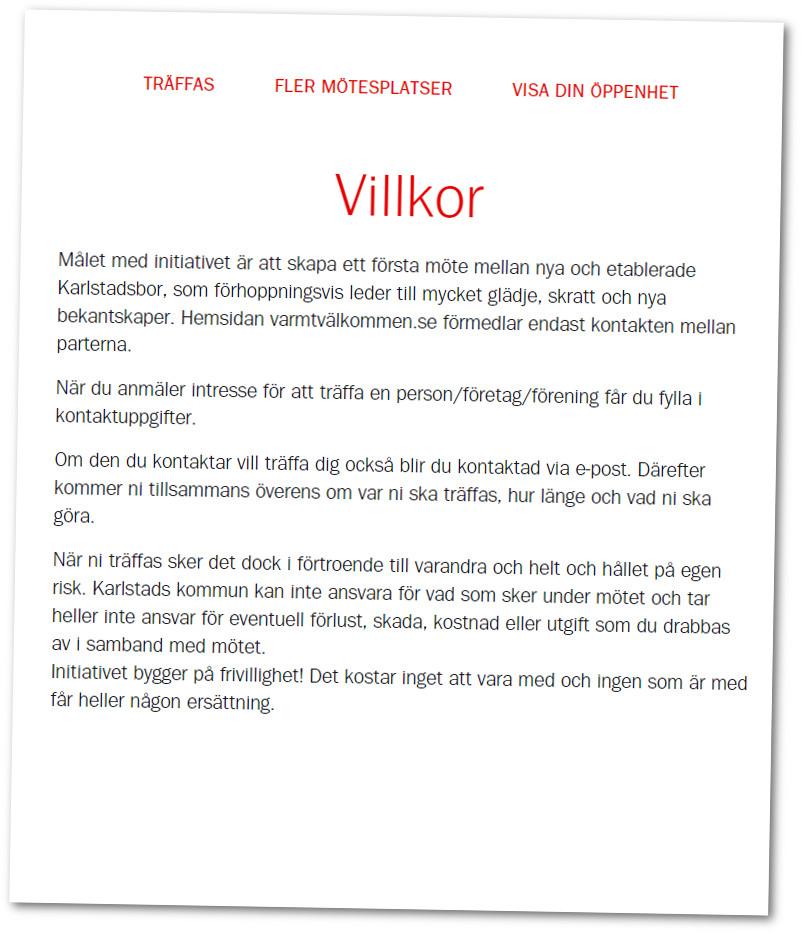 Hela villkorssektionen på kampanjsidan. Bild: Skärmdump