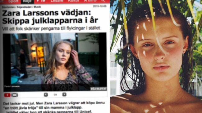 Aftonbladet berättar att Zara Larsson tycker man ska hjälpa flyktingar istället för att köpa julklappar. Själv åkte hon till Jamaica. Foto: Faksimil aftonbladet.se samt Twitter